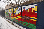 FILE--This file photo from Feb. 11, 2019 shows artwork on a fence around the Tree of Life Synagogue in Pittsburgh where 11 people were killed and seven others injured during an attack on in October of 2018. The synagogue is inviting young people worldwide to submit artwork in an art project called