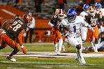 Buffalo wide receiver Antonio Nunn (1) runs after a pass reception during the first half of the team's NCAA college football game against Bowling Green in Bowling Green, Ohio, Tuesday, Nov. 17, 2020. (Scott W. Grau/Sentinel-Tribune via AP)