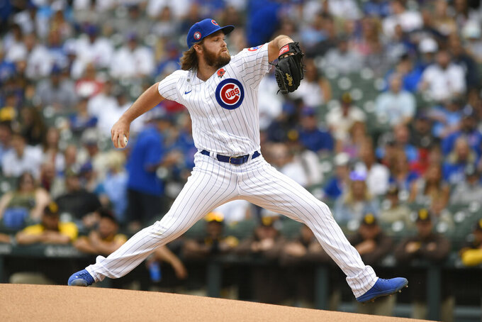 Chicago Cubs starter Kohl Stewart delivers a pitch during the first inning of a baseball game against the San Diego Padres on Monday, May 31, 2021, in Chicago. (AP Photo/Paul Beaty)