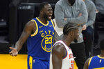 Golden State Warriors forward Draymond Green (23) reacts after being called for a technical foul during the first half of the team's NBA basketball game against the New York Knicks in San Francisco, Thursday, Jan. 21, 2021. Green was ejected from the game. (AP Photo/Jeff Chiu)
