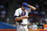 New York Mets starting pitcher Jacob deGrom reacts during the first inning of a baseball game against the Washington Nationals, Sunday, Aug. 11, 2019, in New York. (AP Photo/Frank Franklin II)