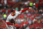 Washington Nationals starting pitcher Patrick Corbin throws during the first inning of the team's baseball game against the St. Louis Cardinals on Tuesday, Sept. 17, 2019, in St. Louis. (AP Photo/Jeff Roberson)