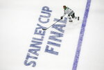 Dallas Stars' John Klingberg (3) skates during warmups before taking on the Tampa Bay Lightning during NHL Stanley Cup finals hockey action in Edmonton, Alberta, Saturday, Sept. 19, 2020. (Jason Franson/The Canadian Press via AP)