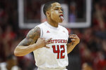 Rutgers' Jacob Young reacts during the first half of the team's NCAA college basketball game against Maryland, Tuesday, March 3, 2020, in Piscataway, N.J. (AP Photo/John Minchillo)