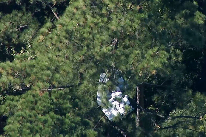 This Monday, Oct. 21, 2019 image made from video provided by WTVD-TV shows the wreckage of a small plane in a treeline near the Raleigh-Durham International Airport in North Carolina. At least a few people were killed when the small plane crashed near the airport, prompting an intensive overnight search of a nearby state park and temporarily halting arrivals and departures of commercial flights, authorities said Monday. (WTVD-TV via AP)