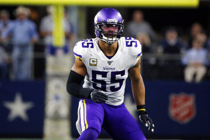 FILE - Minnesota Vikings outside linebacker Anthony Barr (55) drops into coverage against the Dallas Cowboys during an NFL football game in Arlington, Texas, in this Sunday, Nov. 10, 2019, file photo. Finally, this appears to be the week the Minnesota Vikings will have Anthony Barr back on the field. Injuries have kept the four-time Pro Bowl linebacker out for the last 18 games. (AP Photo/Michael Ainsworth, File)
