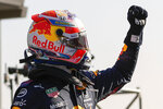 Red Bull driver Max Verstappen of the Netherlands celebrates clinching the pole position after the qualifying session for Sunday's Formula One Dutch Grand Prix at the Zandvoort racetrack, Netherlands, Saturday, Sept. 4, 2021. (AP Photo/Francisco Seco, Pool)