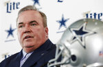 FILE - In this Jan. 8, 2020, file photo, Dallas Cowboys NFL football head coach Mike McCarthy is introduced during a press conference at the Dallas Cowboys headquarters in Frisco, Texas. The NFL Draft is April 23-25. (AP Photo/Brandon Wade, File)