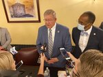 Ohio House Speaker Bob Cupp, left, a Lima Republican, with with state Sen. Vernon Sykes, an Akron Democrat, right, answers questions about the state's redistricting process during a news conference after the commission's meeting Tuesday, Aug. 31, 2021, in Columbus, Ohio. Cupp and Sykes are co-chairs of the Ohio Redistricting Commission. Cupp said the commission will miss Wednesday's deadline for producing a map and will need an extension until Sept. 15 extension. (AP Photo/Andrew Welsh-Huggins)