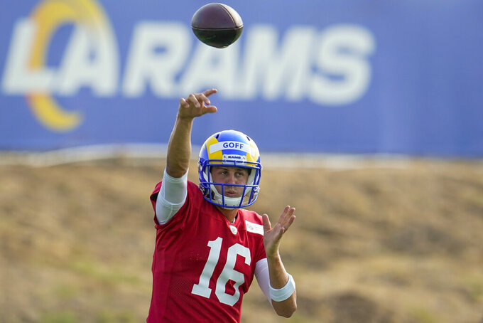 Los Angeles Rams quarterback Jared Goff throws during an NFL football camp practice Wednesday, Aug. 19, 2020, in Thousand Oaks, Calif. (AP Photo/Marcio Jose Sanchez)