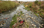 Volunteers collect waste from Jukskei River at Alexandra township to mark the World Cleanup Day, Saturday, Sept. 18, 2021, in Johannesburg, South Africa. (AP Photo/Themba Hadebe)