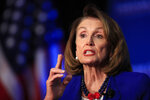 House Speaker Nancy Pelosi of Calif., speaks at an Economic Club of Washington luncheon gathering in Washington, Friday, March 8, 2019. (AP Photo/Manuel Balce Ceneta)