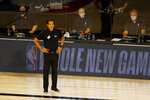 Miami Heat head coach Erik Spoelstra watches during the first half of an NBA basketball game against the Denver Nuggets, Saturday, Aug. 1, 2020, in Lake Buena Vista, Fla. (Kevin C. Cox/Pool Photo via AP)