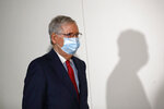 Senate Majority Leader Mitch McConnell of Ky., wears a face mask used to protect against the spread of the new coronavirus as he attends a press conference after meeting with Senate Republicans at their weekly luncheon on Capitol Hill in Washington, Tuesday, May 19, 2020. (AP Photo/Patrick Semansky)