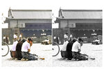 """This photo combination shows digital colorization, left, by Anju Niwata and Hidenori Watanave, and its original black and white Kyodo photo that three Japanese schoolgirls are seen weeping in front of Japanese Emperor Hirohito's palace on Imperial Plaza in Tokyo, in Aug. 15, 1945. Niwata and Watanave started the photo colorization project in 2018. They call it """"Rebooting Memories,"""" and they published a book last month of the colorized versions of about 350 monochrome pictures taken before, during and after the Pacific War. (Kyodo News/Anju Niwata & Hidenori Watanave via AP)"""