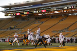 Stanford blocks an extra-point kick by California during the second half of an NCAA college football game Friday, Nov. 27, 2020, in Berkeley, Calif. (AP Photo/Jed Jacobsohn)