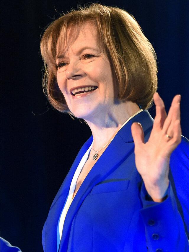 FILE - In this Nov. 6, 2018 file photo, Tina Smith speaks in St. Paul, Minn. (AP Photo/Hannah Foslien,File)
