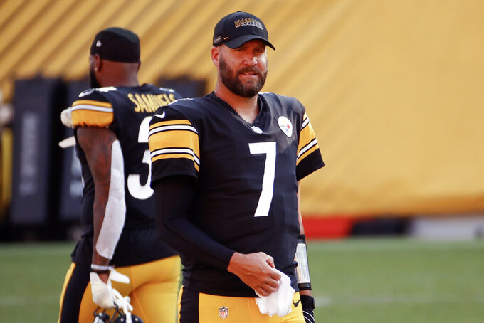 FILE - Pittsburgh Steelers quarterback Ben Roethlisberger (7) during practice at NFL football training camp in Pittsburgh, Saturday, Aug. 22, 2020. It's all about the quarterbacks in the AFC North. (AP Photo/Gene J. Puskar, File)