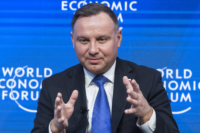 Andrzej Duda, President of Poland, speaks about the challenges of the North Atlantic Treaty Organization (NATO) during the 50th annual meeting of the World Economic Forum (WEF) in Davos, Switzerland, Thursday, Jan. 23, 2020. (Alessandro della Valle/Keystone via AP)