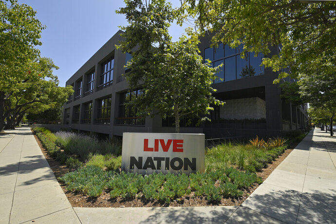 The headquarters of Live Nation is viewed Monday, June 29, 2020, in Beverly Hills, Calif. America's nightclubs are largely closed because of the coronavirus pandemic, but that isn't stopping an interfaith coalition from launching a campaign to stop what organizers call the