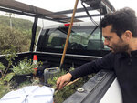 In San Diego, Daniel Watman reviews plants in a pickup truck before driving to Friendship Park within California's Border Field State Park to resurrect the patch that was bulldozed by the Border Patrol earlier this month, on Saturday, Jan. 25, 2020. The U.S. Border Patrol, reacting to a breach it discovered in a steel-pole border wall believed to be used by smugglers, gave activists no warning this month when it bulldozed the U.S. side of a cross-border garden on an iconic bluff overlooking the Pacific Ocean. On Saturday, after a public apology for