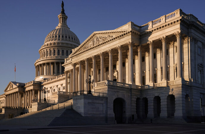 The Senate side of the Capitol is seen on the morning after the House of Representatives voted to impeach President Donald Trump for abuse of power and obstruction of Congress, in Washington, Thursday, Dec. 19, 2019. House Speaker Nancy Pelosi refused to say Wednesday night when she'll send the impeachment articles against Trump to the Senate for the trial. (AP Photo/J. Scott Applewhite)