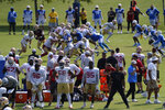 San Francisco 49ers and Los Angeles Chargers hold a joint NFL football team practice in Costa Mesa, Calif., Thursday, Aug. 19, 2021. (AP Photo/Damian Dovarganes)