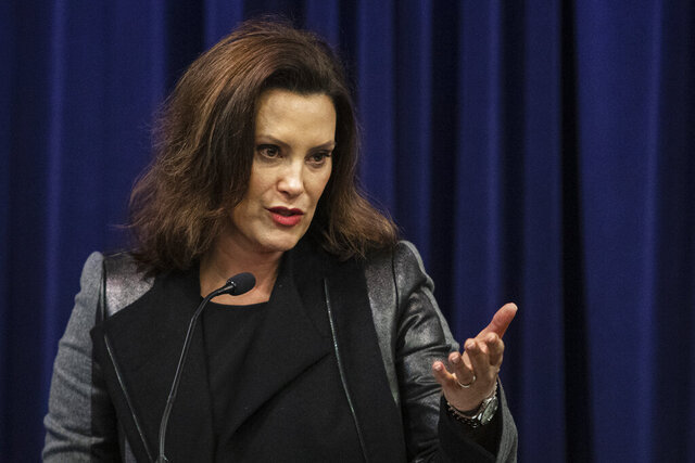"Governor Gretchen Whitmer speaks after Michigan Attorney General Dana Nessel announced a lawsuit against 17 PFAS manufacturers at the Attorney General's office in Lansing, Mich., on Tuesday, Jan. 14, 2020. Michigan sued 3M, DuPont and other companies for financial damages from contamination caused by potentially harmful ""forever"