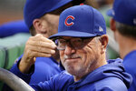Chicago Cubs manager Joe Maddon acknowledges a fan before the team's baseball game against the Pittsburgh Pirates in Pittsburgh, Thursday, Sept. 26, 2019. (AP Photo/Gene J. Puskar)