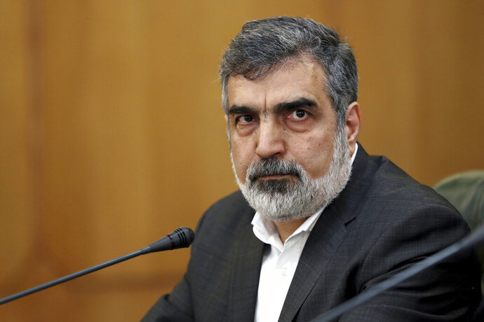 Spokesman for Iran's atomic agency Behrouz Kamalvandi attends a press briefing in Tehran, Iran, Sunday, July 7, 2019. The deputy foreign minister says that his nation considers the 2015 nuclear deal with world powers to be a
