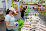 Volunteers load non perishable foods green grocery bag that are then boxed up and put on a pallet for distribution to a school student food program in the area at the Houston Food Bank Wednesday, Oct. 14, 2020, in Houston. (AP Photo/Michael Wyke)