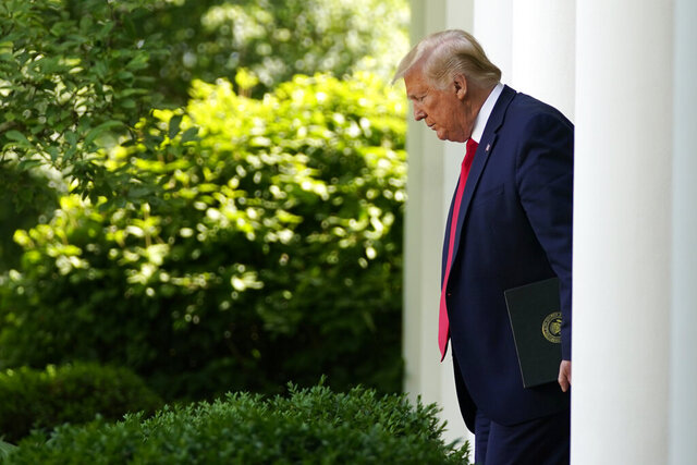 President Donald Trump arrives to speak at an event on protecting seniors with diabetes in the Rose Garden White House, Tuesday, May 26, 2020, in Washington. (AP Photo/Evan Vucci)