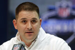FLE - In this Feb. 25, 2020, file photo, New York Giants head coach Joe Judge speaks during a press conference at the NFL football scouting combine in Indianapolis. The NFL Draft is April 23-25, 2020. (AP Photo/Michael Conroy, File)