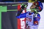 Slovakia's Petra Vlhova celebrates after winning the women's giant slalom, at the alpine ski World Championships in Are, Sweden, Thursday, Feb. 14, 2019. (AP Photo/Marco Trovati)