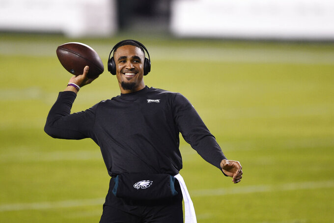 Philadelphia Eagles' Jalen Hurts warms up before an NFL football game against the Washington Football Team, Sunday, Jan. 3, 2021, in Philadelphia. (AP Photo/Derik Hamilton)