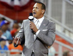 FILE - In this July 11, 2017, file photo, former Major League Baseball player Alex Rodriguez reports from the field during the MLB baseball All-Star Game in Miami. Rodriguez, among four groups of bidders for a possible purchase of the New York Mets, called for baseball players to accept the type of revenue-sharing system that is tied to a salary cap and sparked quick opposition from the union. (AP Photo/Lynne Sladky, File)