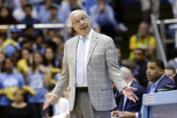 North Carolina head coach Roy Williams reacts during the second half of an NCAA college basketball game against Miami in Chapel Hill, N.C., Saturday, Jan. 25, 2020. (AP Photo/Gerry Broome)