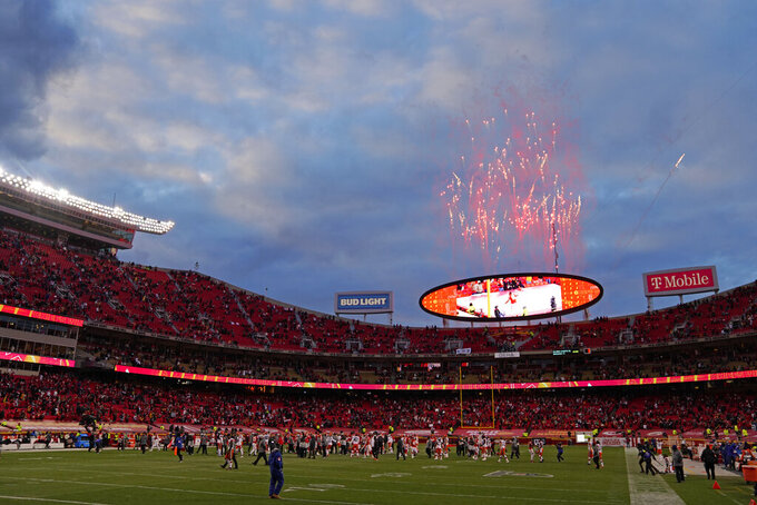 Fireworks are seen over Arrowhead Stadium after an NFL divisional round football game between the Kansas City Chiefs and the Cleveland Browns, Sunday, Jan. 17, 2021, in Kansas City. The Chiefs won 22-17. (AP Photo/Jeff Roberson)