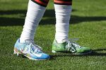Cleveland Browns running back D'Ernest Johnson wears special My Cause My Cleats shoes before an NFL football game against the Tennessee Titans Sunday, Dec. 6, 2020, in Nashville, Tenn. (AP Photo/Ben Margot)