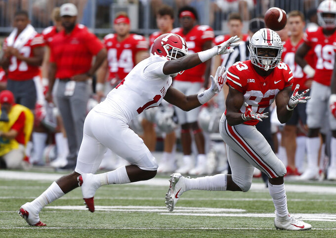 Ohio State receiver Terry McLaurin, right, catches a pass as Indiana defensive back Andre Brown defends during the first half of an NCAA college football game Saturday, Oct. 6, 2018, in Columbus, Ohio. (AP Photo/Jay LaPrete)