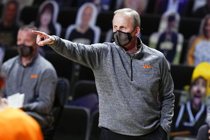 Tennessee head coach Rick Barnes directs his players in the first half of an NCAA college basketball game against Vanderbilt Wednesday, Feb. 24, 2021, in Nashville, Tenn. (AP Photo/Mark Humphrey)
