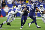 Indianapolis Colts defensive tackle Denico Autry (96) sacks Tennessee Titans quarterback Ryan Tannehill (17) during the first half of an NFL football game in Indianapolis, Sunday, Dec. 1, 2019. (AP Photo/Darron Cummings)