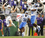 Duke's Marquis Waters, right, intercepts a pass intended for Northwestern's Bennett Skowronek, left, as Duke's Josh Blackwell looks on during the first half of an NCAA college football game Saturday, Sept. 8, 2018, in Evanston, Ill. (AP Photo/Jim Young)