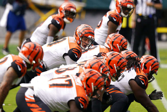 Cincinnati Bengals' Joe Burrow lines up during the first quarter of an NFL football game against the Philadelphia Eagles, Sunday, Sept. 27, 2020, in Philadelphia. (AP Photo/Chris Szagola)