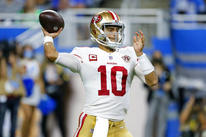 San Francisco 49ers quarterback Jimmy Garoppolo throws against the Detroit Lions in the second half of an NFL football game in Detroit, Sunday, Sept. 12, 2021. (AP Photo/Duane Burleson)