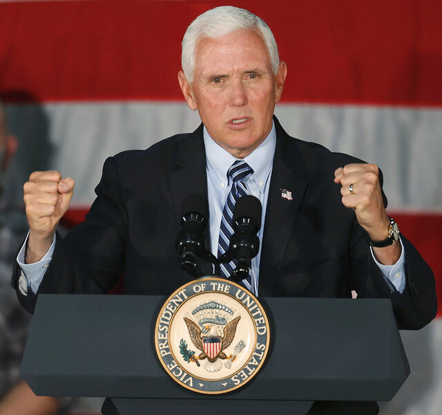 Vice President Mike Pence speaks at Midwest Manufacturing in Eau Claire, Wis. on Thursday, Sept. 24, 2020. (Dan Reiland/The Eau Claire Leader-Telegram via AP)