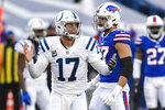 Indianapolis Colts quarterback Philip Rivers (17) reacts during the second half of an NFL wild-card playoff football game against the Buffalo Bills, Saturday, Jan. 9, 2021, in Orchard Park, N.Y. (AP Photo/Adrian Kraus)