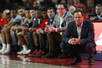 Georgia coach Tom Crean reacts during the team's NCAA college basketball game against South Carolina on Wednesday, Feb. 12, 2020, in Athens, Ga. (Joshua L. Jones/Athens Banner-Herald via AP)