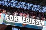 Danish fans wait for the start of the Euro 2020 soccer championship group B match between Denmark and Belgium at Parken stadium in Copenhagen, Denmark, Thursday, June 17, 2021. (AP Photo/Martin Meissner, Pool)