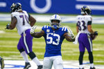 Indianapolis Colts outside linebacker Darius Leonard (53) celebrates a sack against the Baltimore Ravens in the first half of an NFL football game in Indianapolis, Sunday, Nov. 8, 2020. (AP Photo/Darron Cummings)